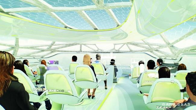 Auch eine Idee von Airbus: Die Konzeptkabine mit transparenter Membran (Foto: © Airbus S.A.S 2012)