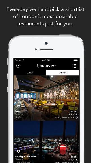 Liste der renommiertesten Londoner Restaurants  mit der App Uncover(Foto: Apple)